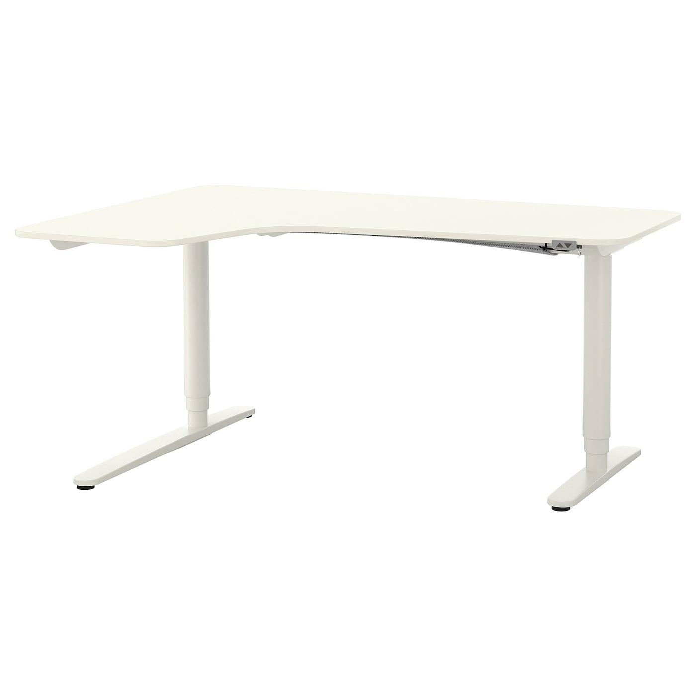 bekant bureau d 39 angle gch assis debout blanc 160x110 cm ikea. Black Bedroom Furniture Sets. Home Design Ideas
