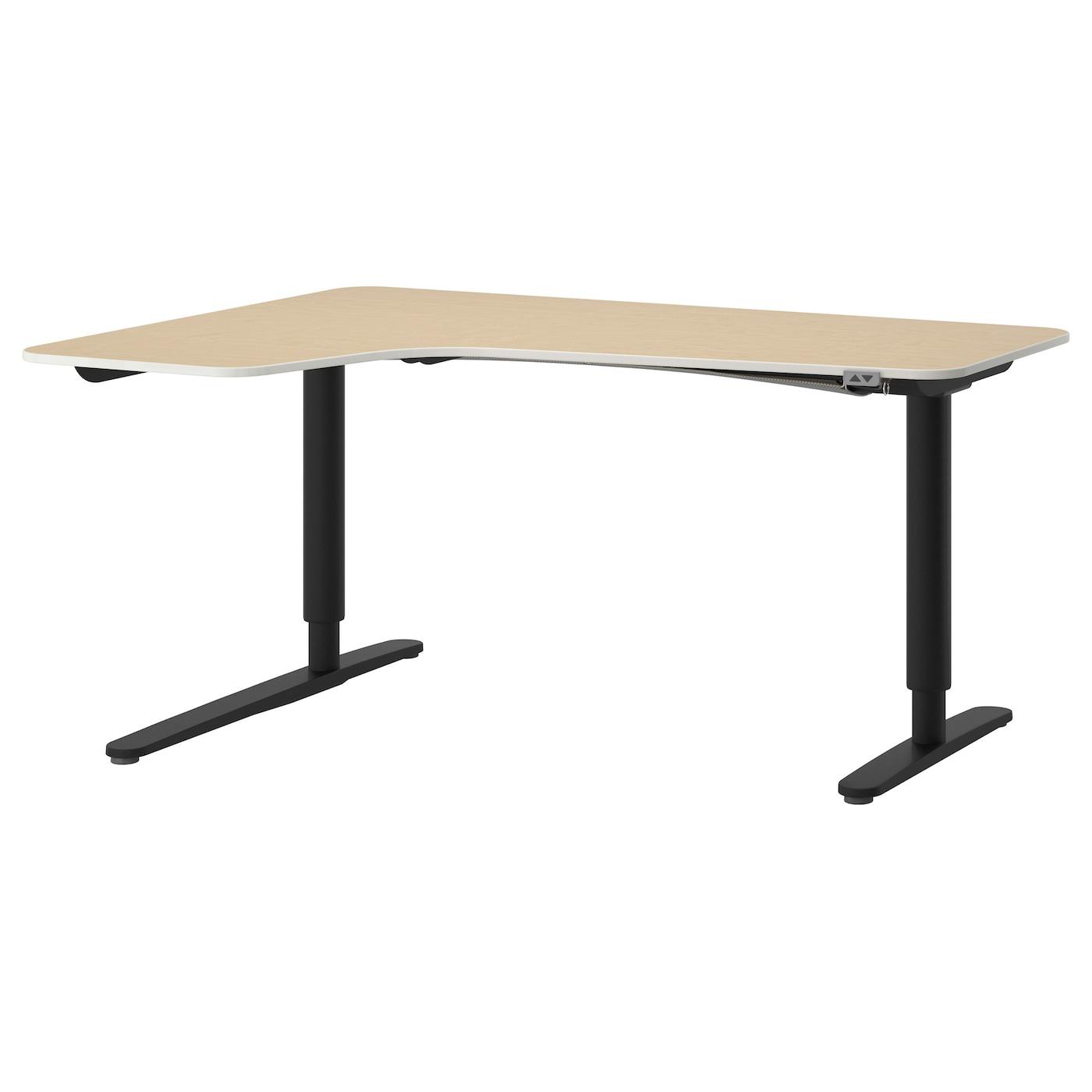 bekant bureau d 39 angle gch assis debout plaqu bouleau noir 160 x 110 cm ikea. Black Bedroom Furniture Sets. Home Design Ideas