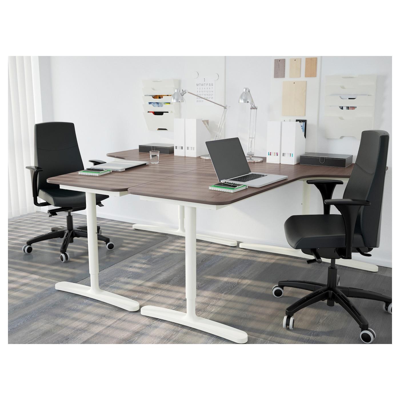 bekant bureau d 39 angle gch gris blanc 160 x 110 cm ikea. Black Bedroom Furniture Sets. Home Design Ideas
