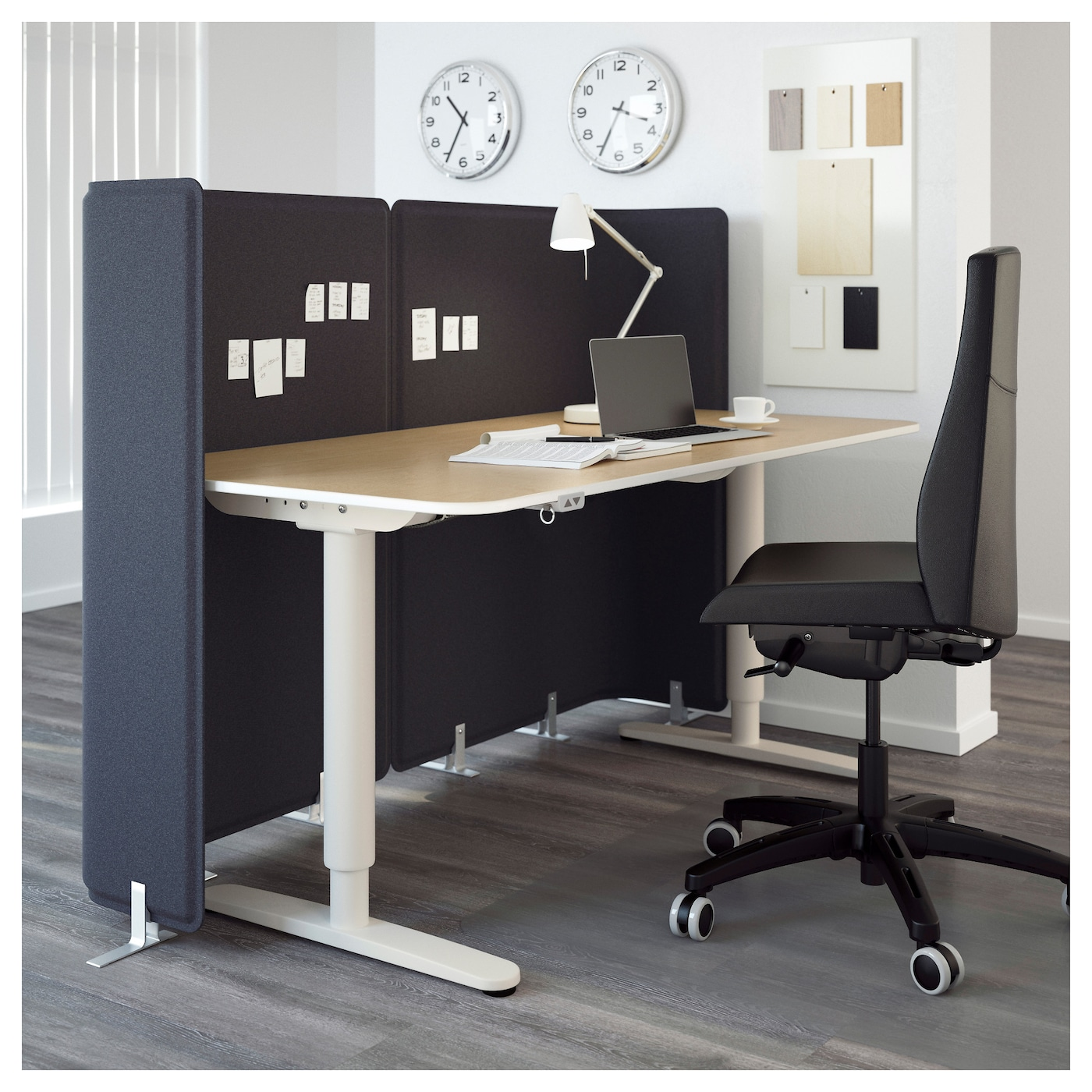 bekant bureau de r ception assis debout plaqu bouleau blanc 160x80 120 cm ikea. Black Bedroom Furniture Sets. Home Design Ideas