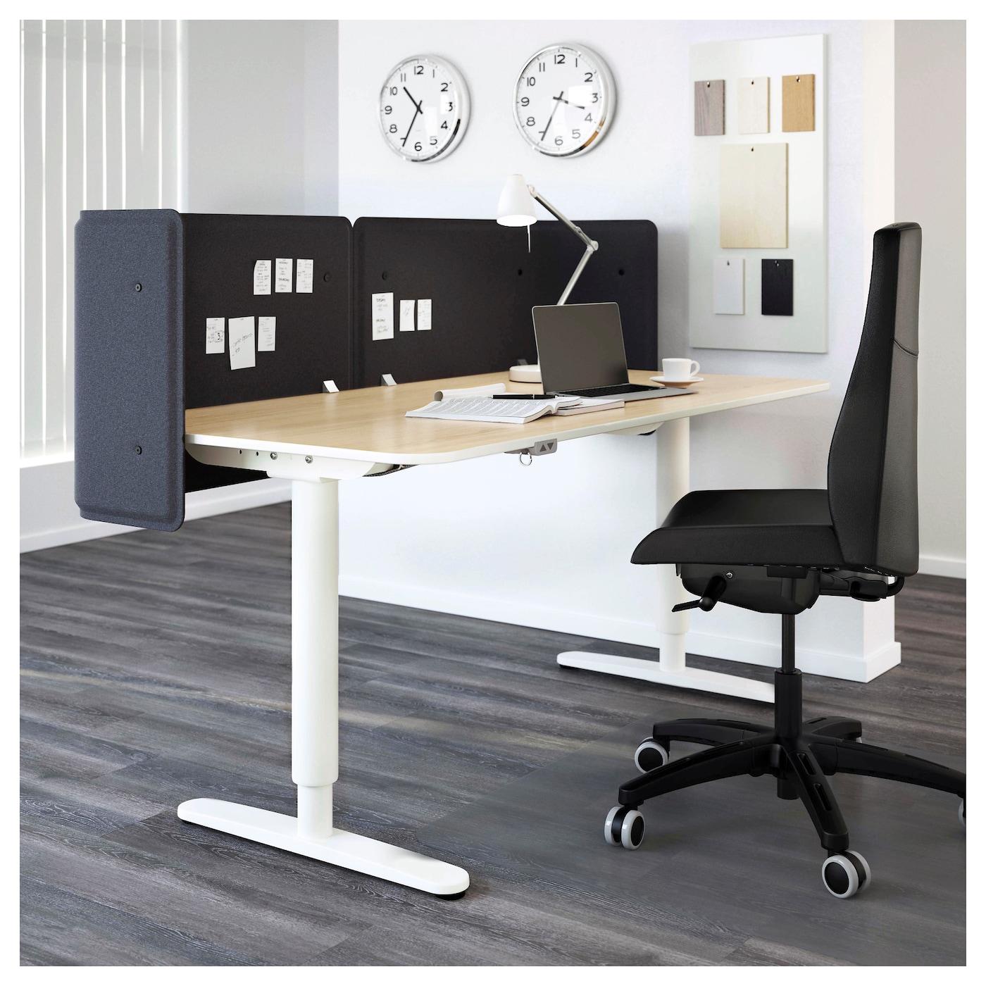 bekant bureau de r ception assis debout plaqu bouleau blanc 160x80 55 cm ikea. Black Bedroom Furniture Sets. Home Design Ideas