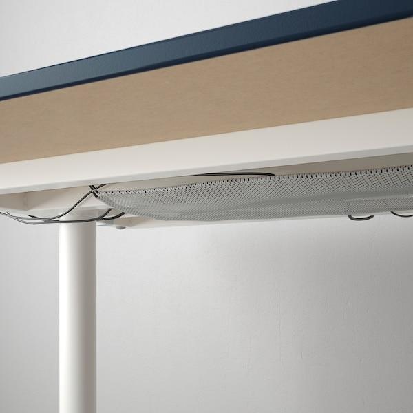 BEKANT Bureau, linoléum bleu/blanc, 160x80 cm