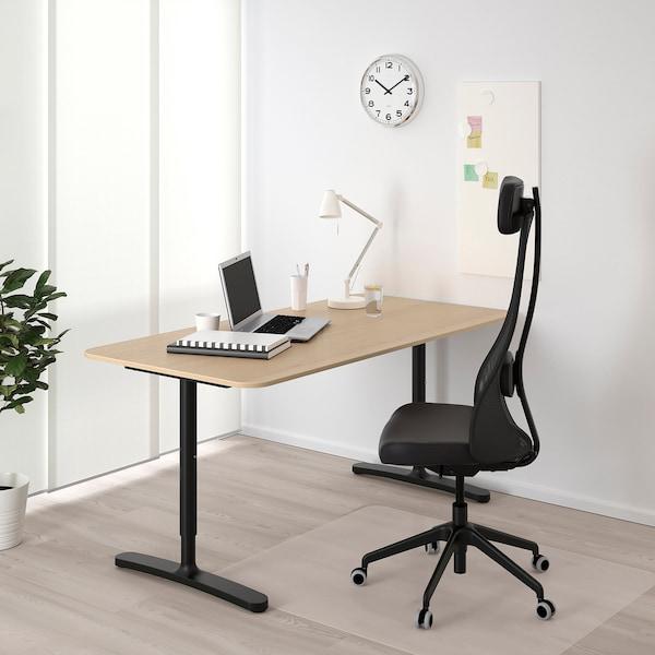 BEKANT Bureau, plaqué chêne blanchi/noir, 160x80 cm
