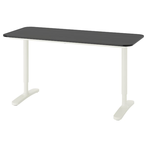 BEKANT Bureau, plaqué frêne teinté noir/blanc, 140x60 cm
