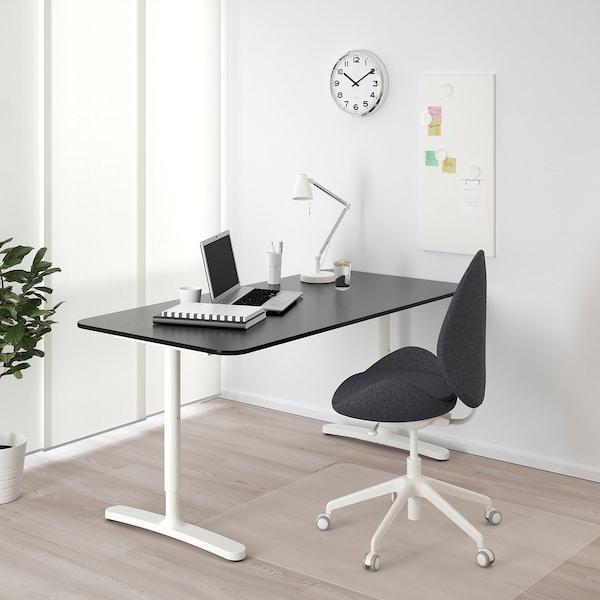 BEKANT Bureau, plaqué frêne teinté noir/blanc, 160x80 cm