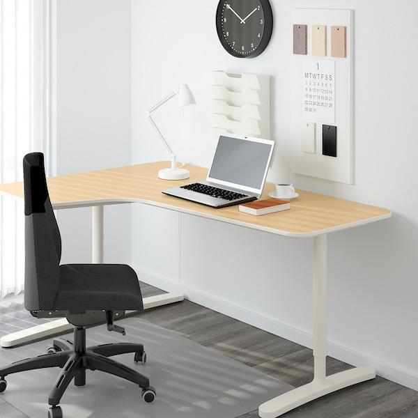 BEKANT Piètement plateau table angle, blanc, 160x110 cm