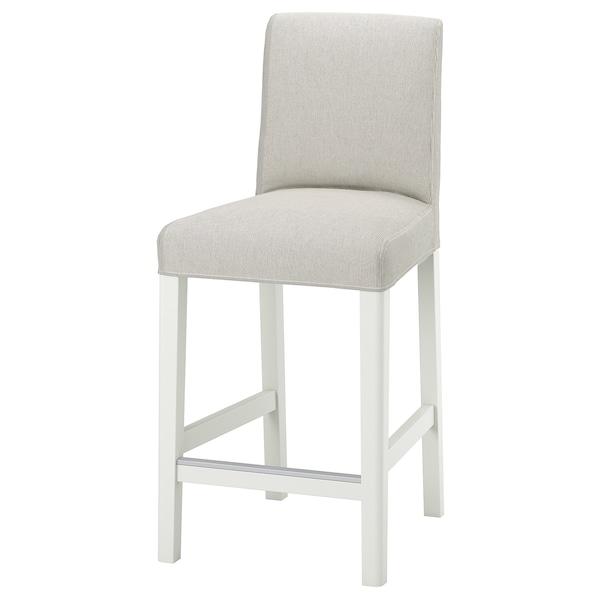 BERGMUND Chaise de bar, blanc/Kolboda beige/gris foncé, 62 cm