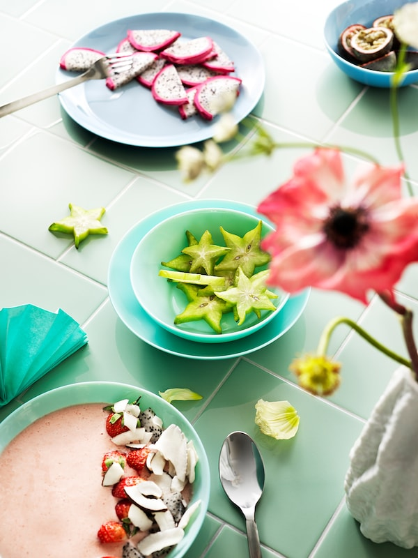 BESEGRA assiette turquoise clair 25 cm 4 pièces