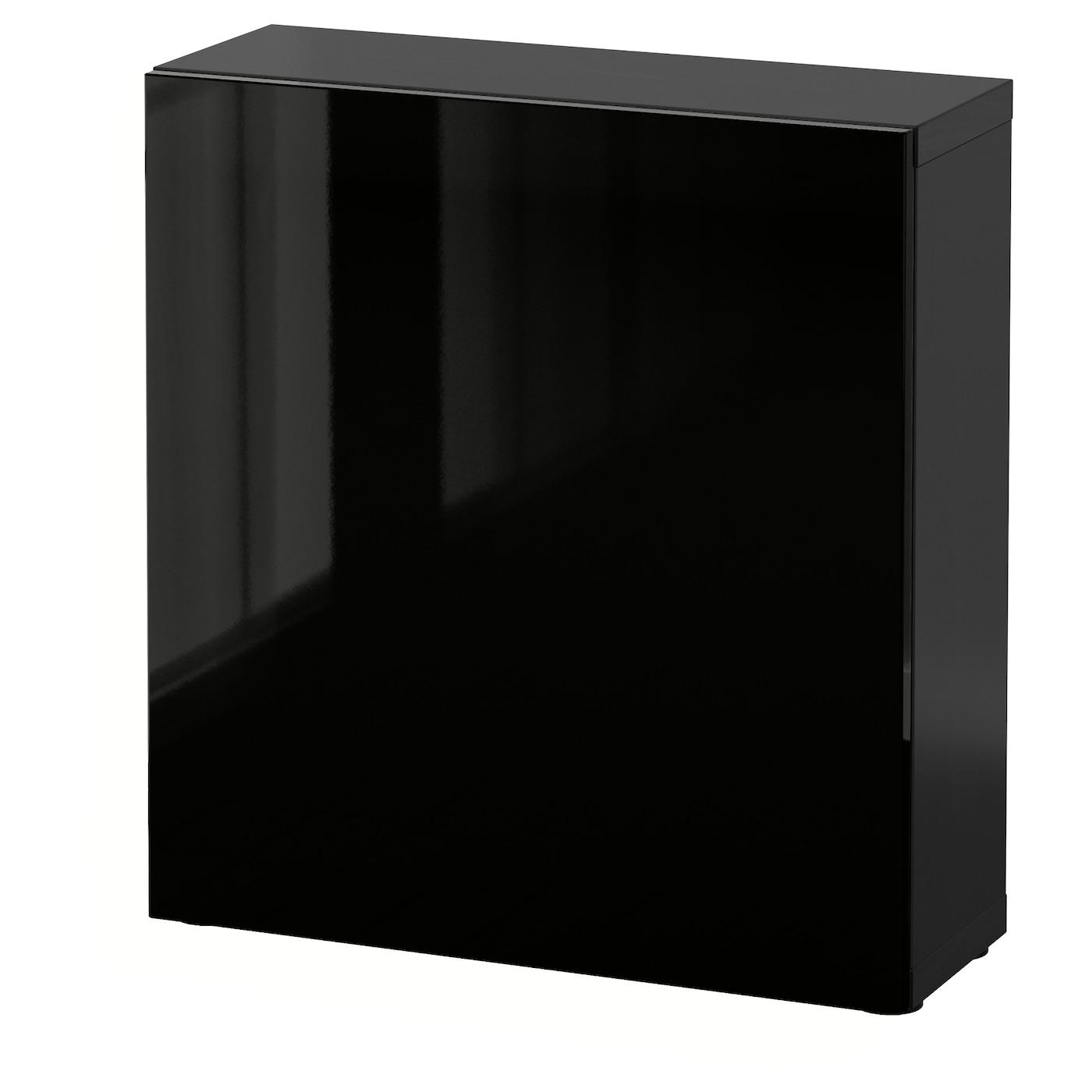 best tag re avec porte brun noir selsviken brillant noir 60x20x64 cm ikea. Black Bedroom Furniture Sets. Home Design Ideas
