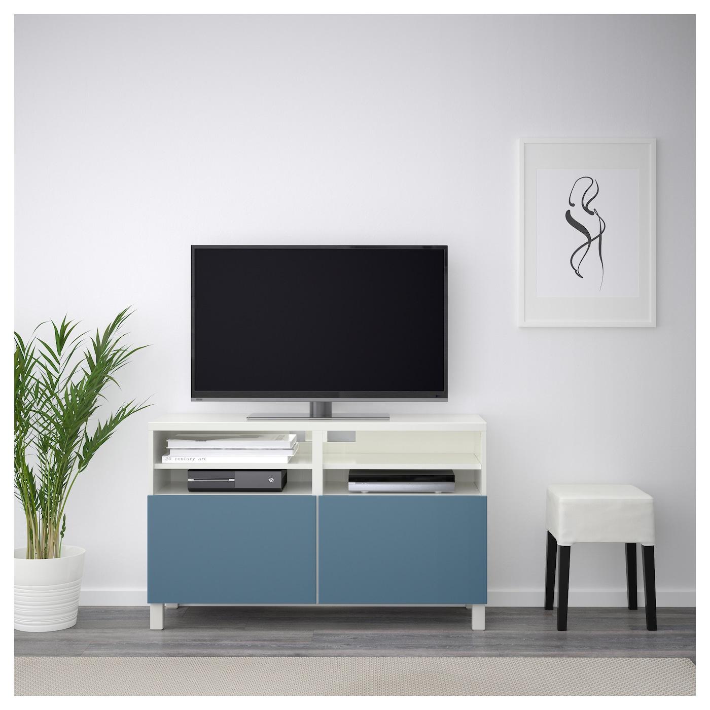 Best Banc Tv Avec Portes Blanc Valviken Bleu Fonc 120x40x74 Cm  # Meuble Tv Hetre Massif