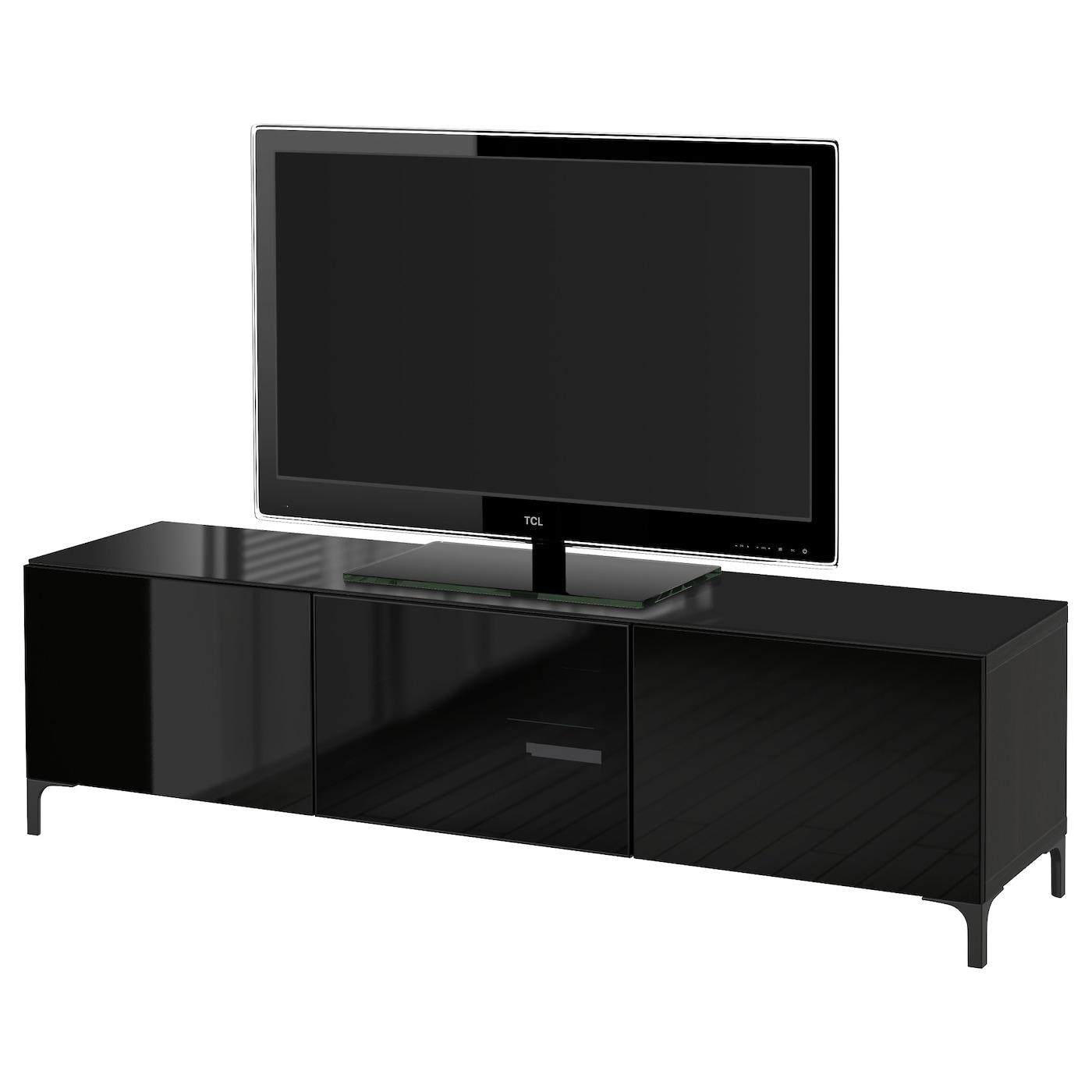 Best Banc Tv Avec Portes Brun Noir Selsviken Brillant Noir Verre  # Meuble Tv Avec Portes