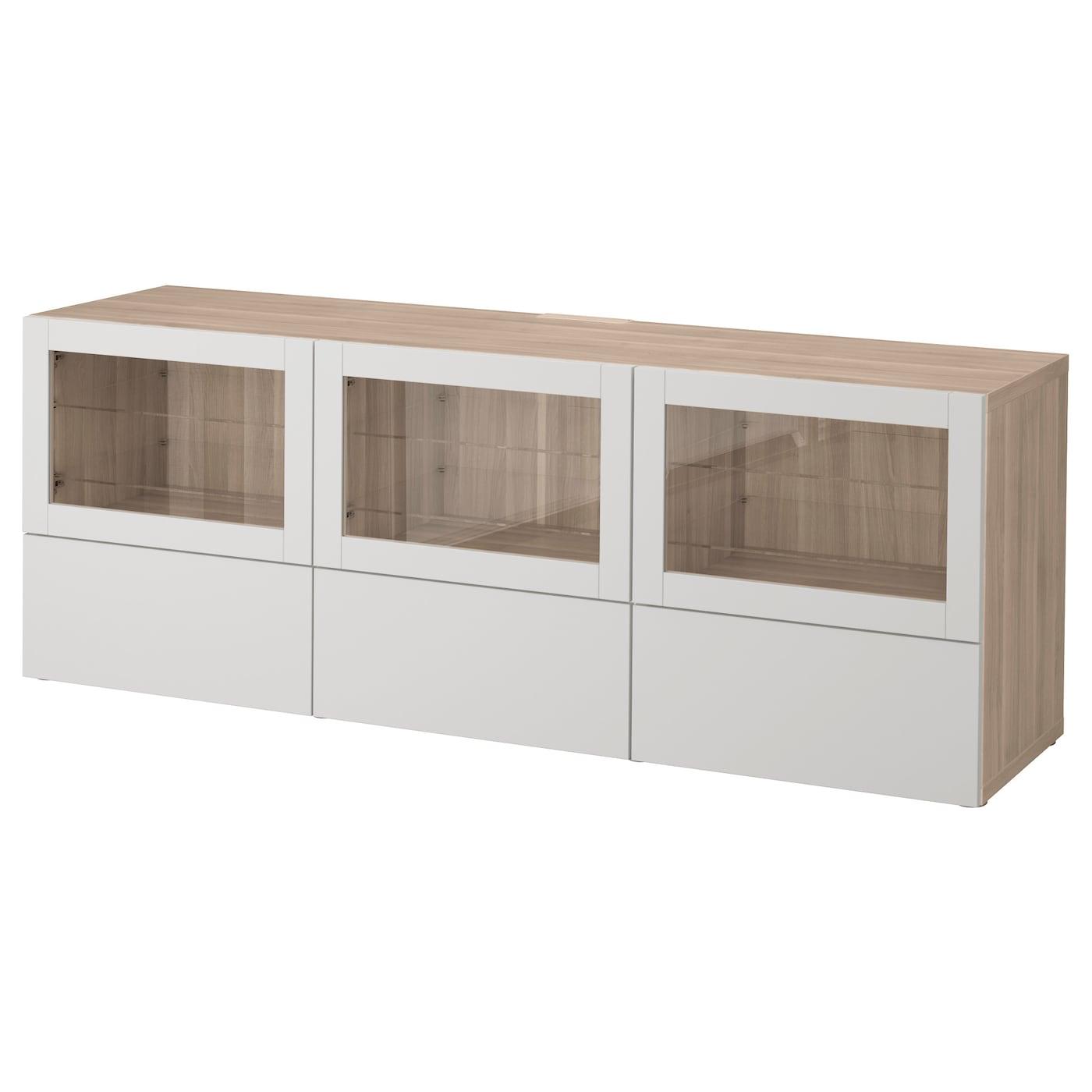Best Banc Tv Avec Portes Et Tiroirs Motif Noyer Teint Gris  # Banc Tv Ikea Besta Noyer Teinte Gris