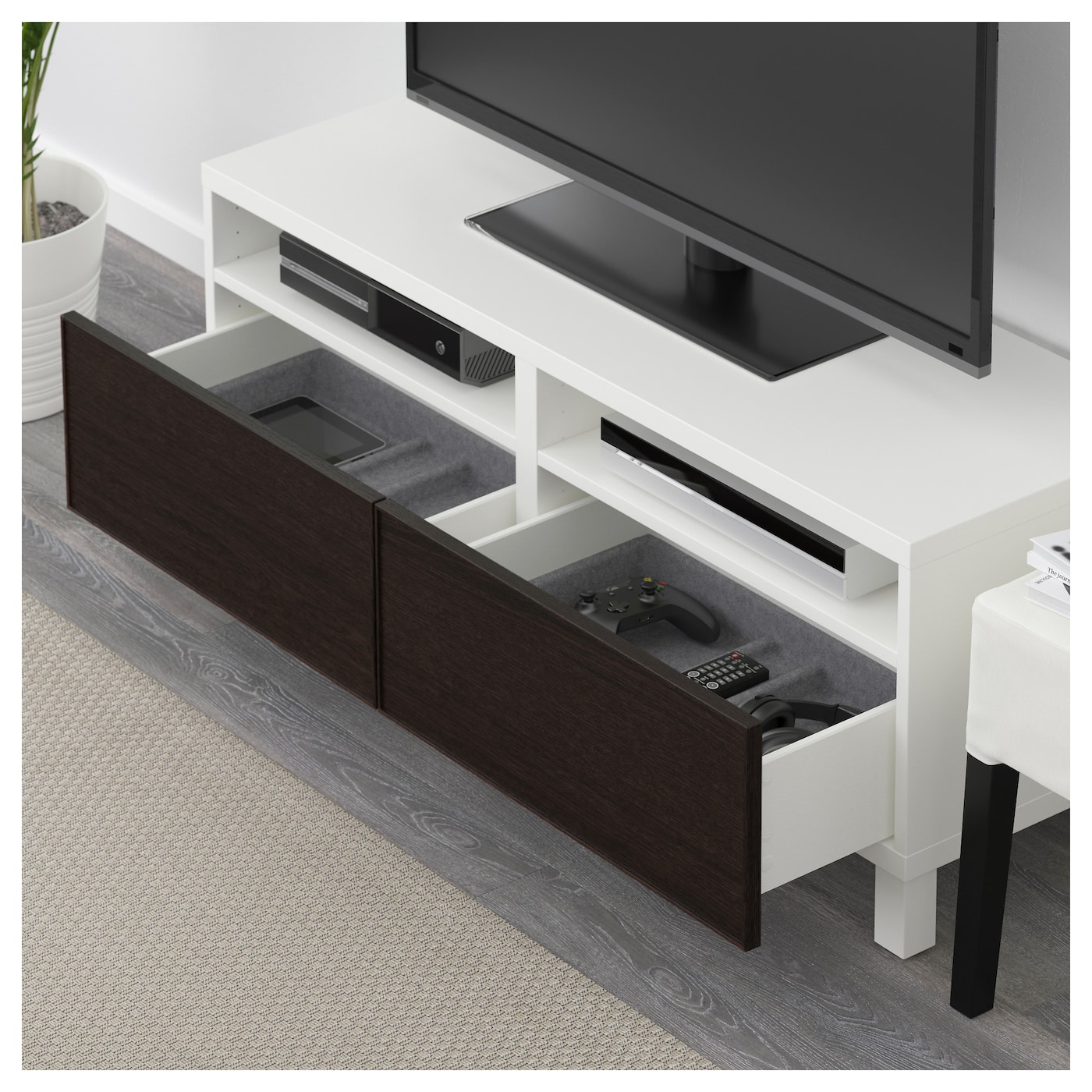 best banc tv avec tiroirs blanc inviken brun noir 120x40x48 cm ikea. Black Bedroom Furniture Sets. Home Design Ideas