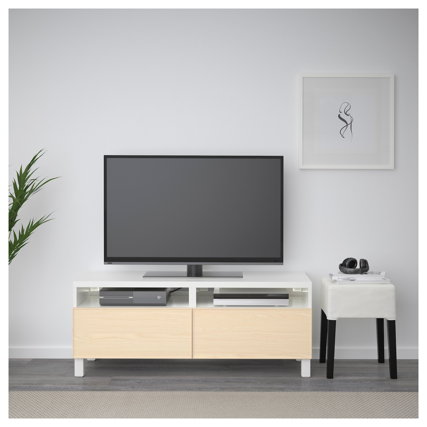 best banc tv avec tiroirs blanc inviken plaqu fr ne 120 x 40 x 48 cm ikea. Black Bedroom Furniture Sets. Home Design Ideas