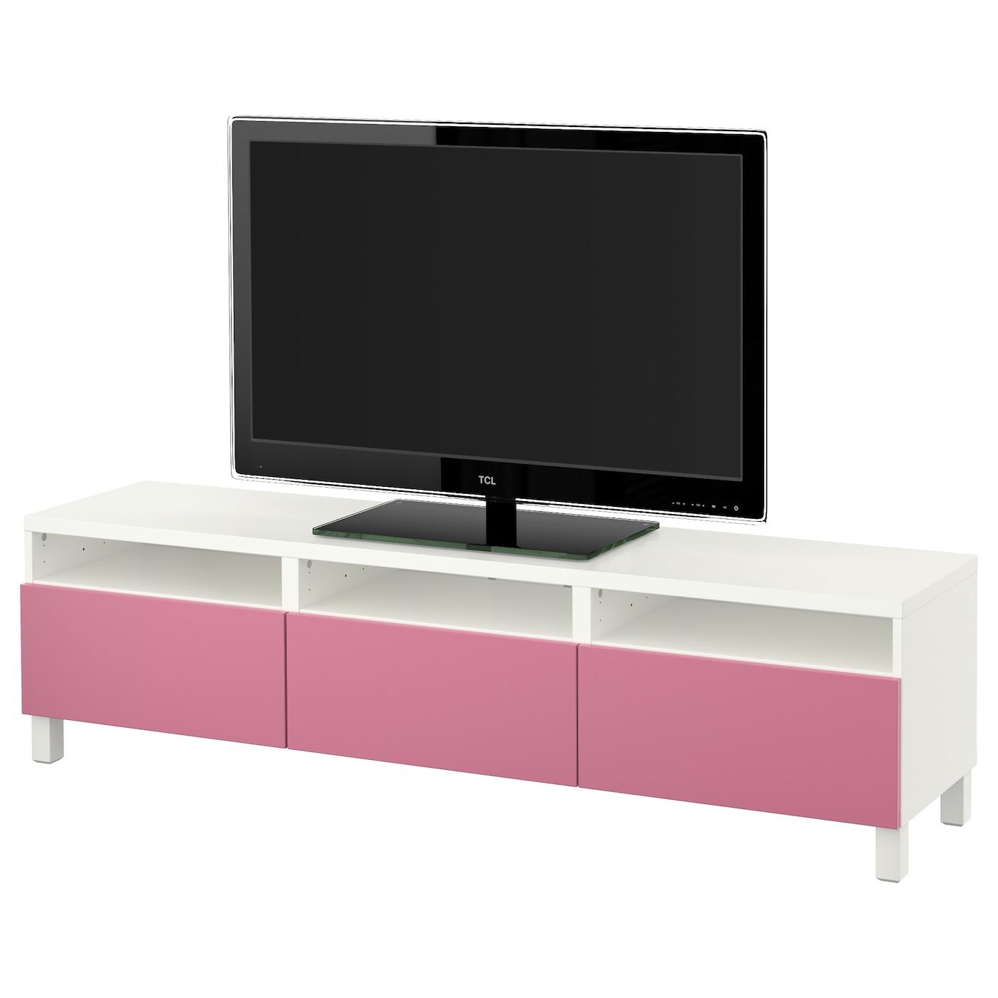 best banc tv avec tiroirs blanc lappviken rose 180x40x48. Black Bedroom Furniture Sets. Home Design Ideas