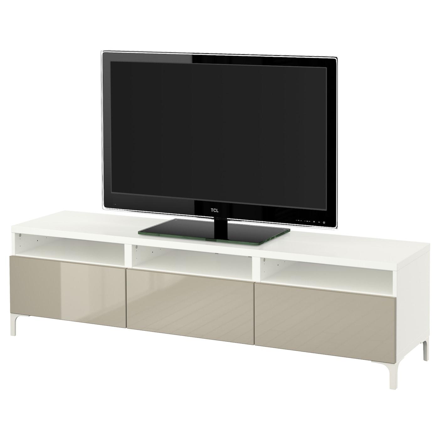 Best Banc Tv Avec Tiroirs Blanc Selsviken Brillant Beige  # Meuble Tv Avec Rangement Ikea