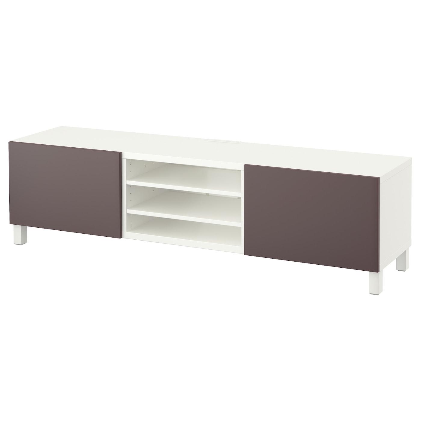 Best Banc Tv Avec Tiroirs Blanc Valviken Brun Fonc 180x40x48 Cm  # Ikea Meuble Tv Blanc Laque