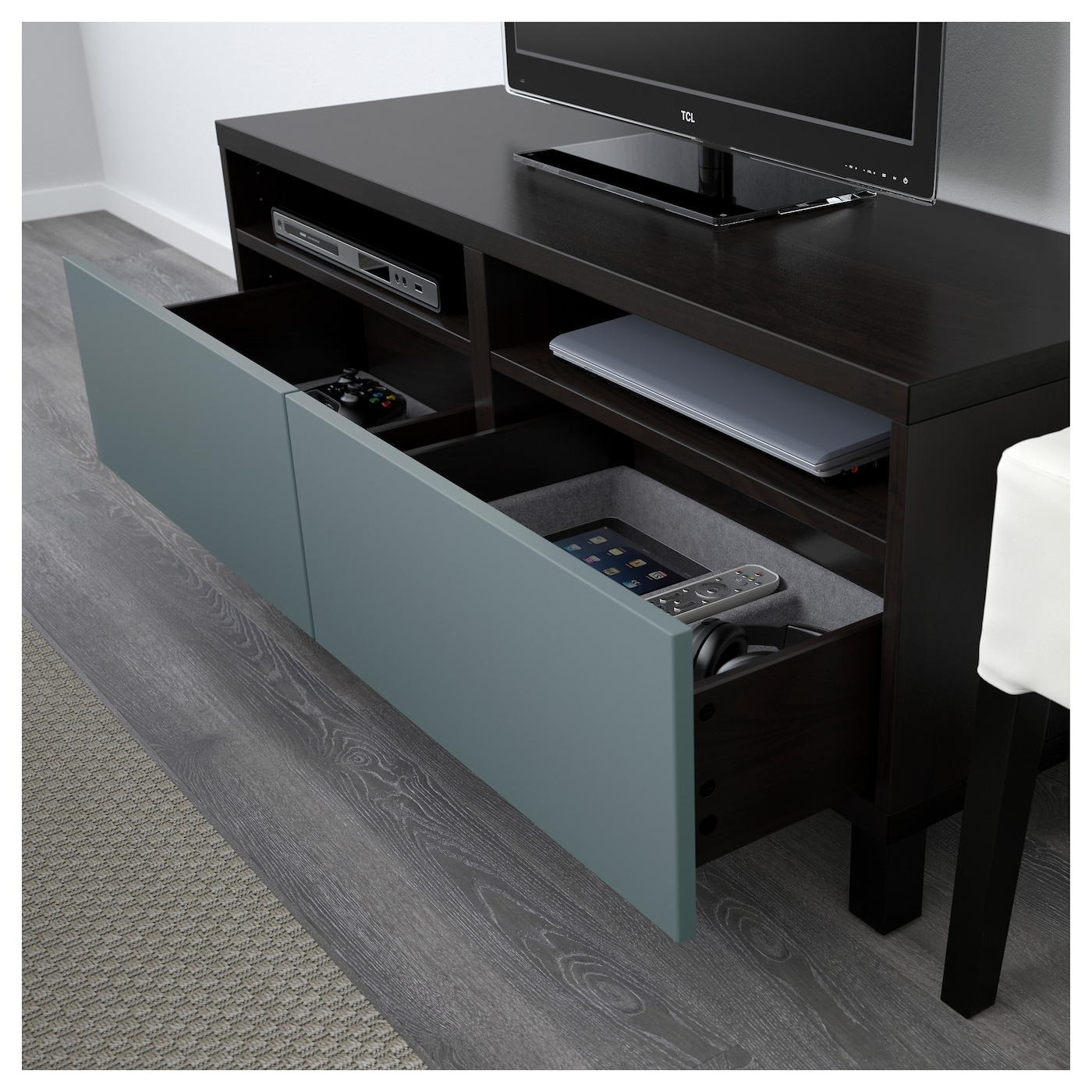 best banc tv avec tiroirs brun noir valviken gris turquoise 120 x 40 x 48 cm ikea. Black Bedroom Furniture Sets. Home Design Ideas