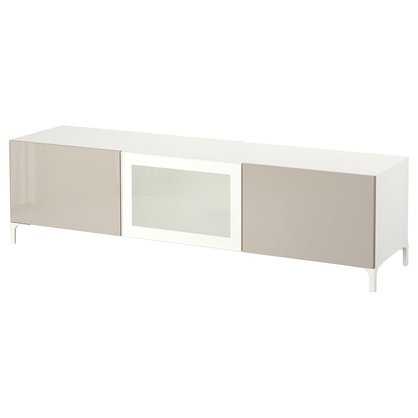 bestÅ banc tv avec tiroirs et porte blanc/selsviken brillant/beige