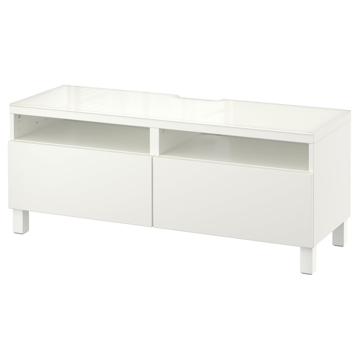 Besta Banc Tv Avec Tiroirs Lappviken Blanc 120 X 40 X 48 Cm Ikea