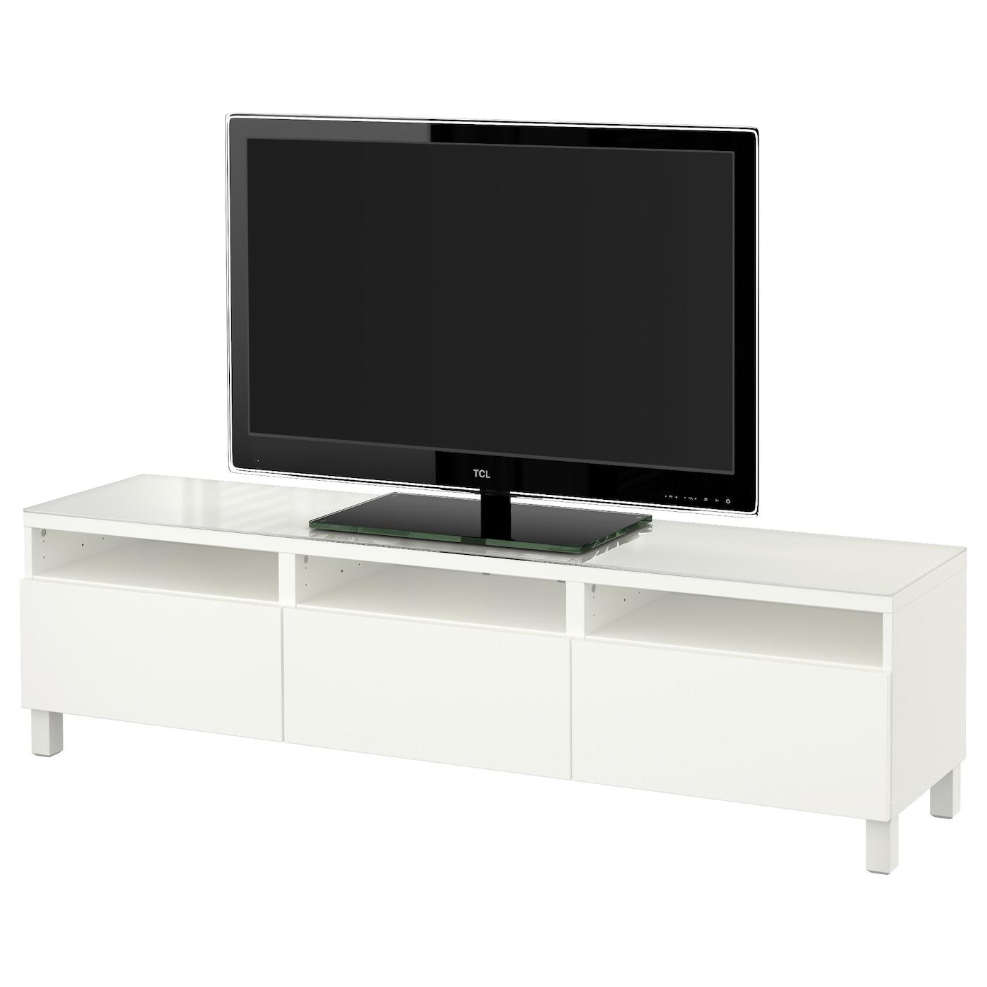 Best Banc Tv Avec Tiroirs Lappviken Blanc 180x40x48 Cm Ikea # Banc Tv Blanc