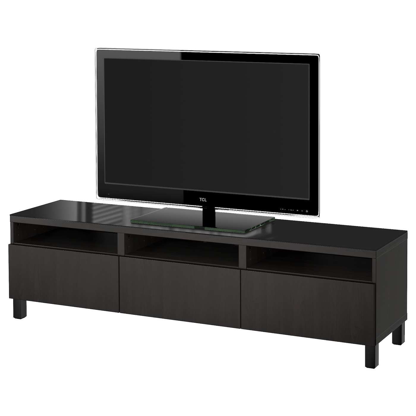 best banc tv avec tiroirs lappviken brun noir 180x40x48 cm ikea. Black Bedroom Furniture Sets. Home Design Ideas