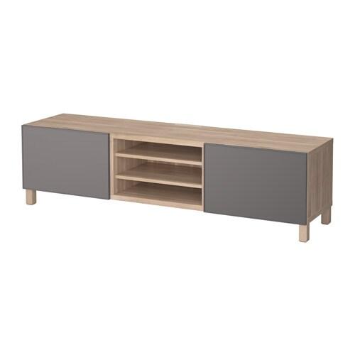 best banc tv avec tiroirs motif noyer teint gris grundsviken gris fonc 180x40x48 cm ikea. Black Bedroom Furniture Sets. Home Design Ideas