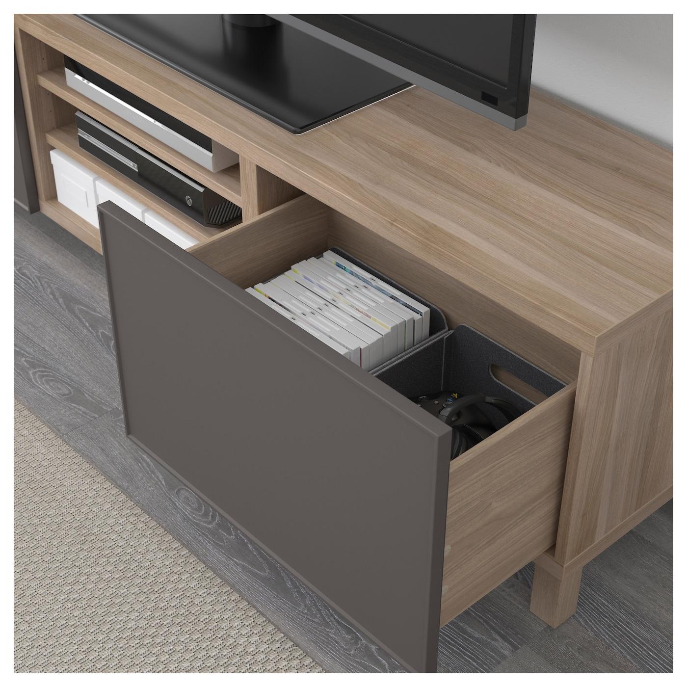best banc tv avec tiroirs motif noyer teint gris grundsviken gris fonc 180 x 40 x 48 cm ikea. Black Bedroom Furniture Sets. Home Design Ideas