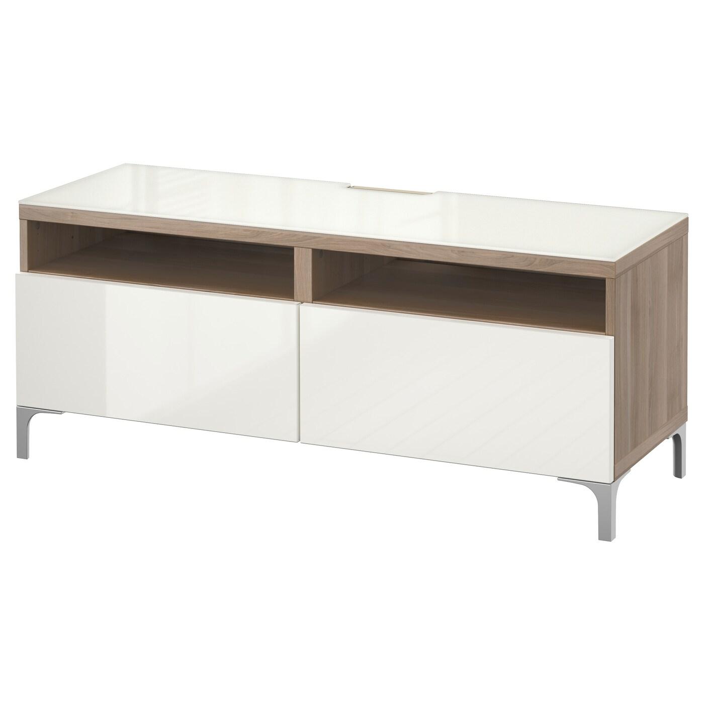 best banc tv avec tiroirs motif noyer teint gris selsviken brillant blanc 120x40x48 cm ikea. Black Bedroom Furniture Sets. Home Design Ideas