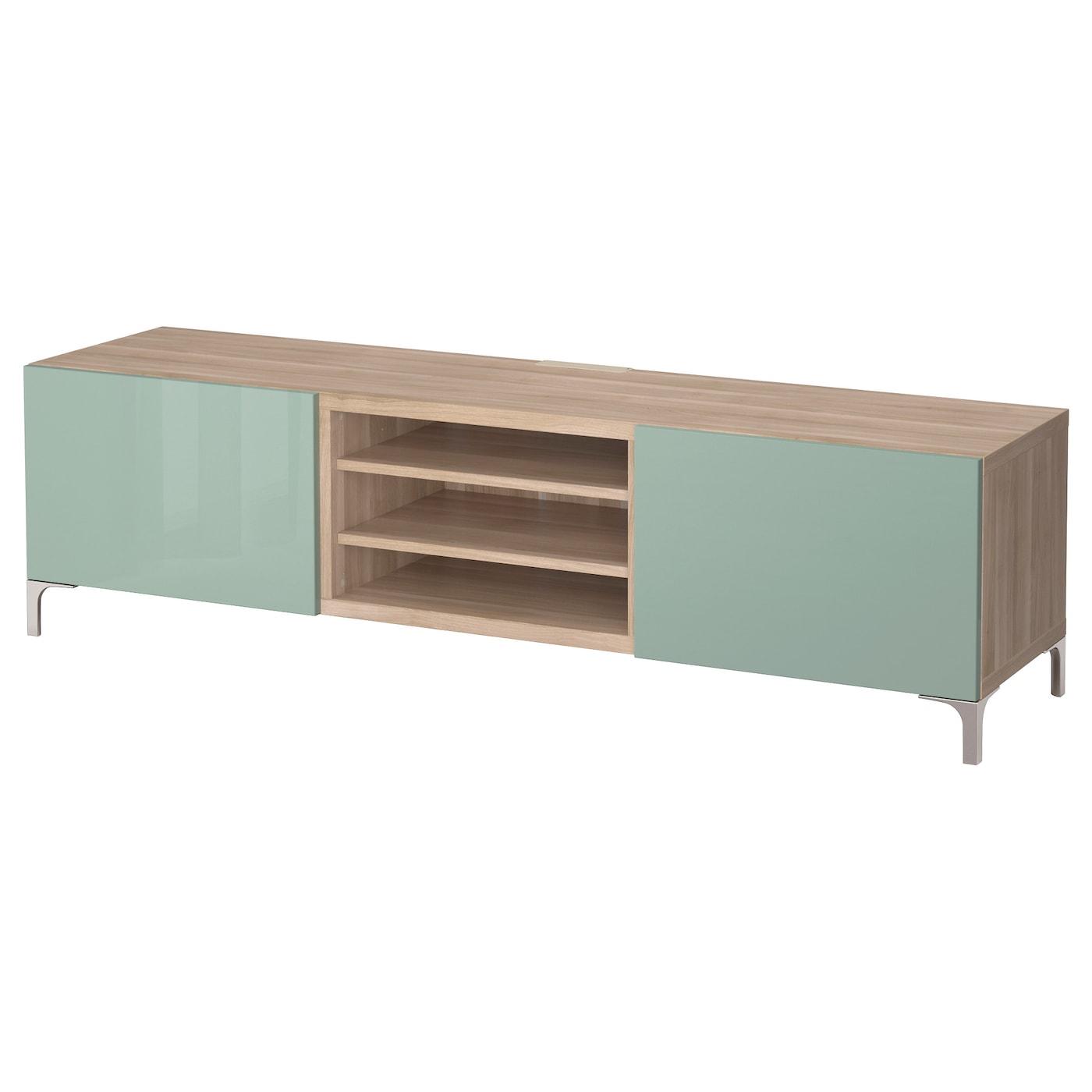 best banc tv avec tiroirs motif noyer teint gris selsviken brillant gris vert clair 180x40x48. Black Bedroom Furniture Sets. Home Design Ideas