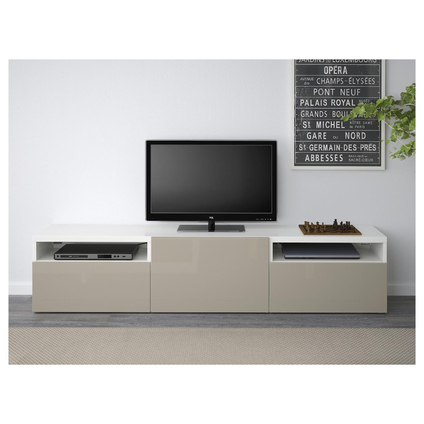 Best Banc Tv Blanc Selsviken Brillant Beige 180x40x38 Cm Ikea # Meuble Tv Blanc Brillant