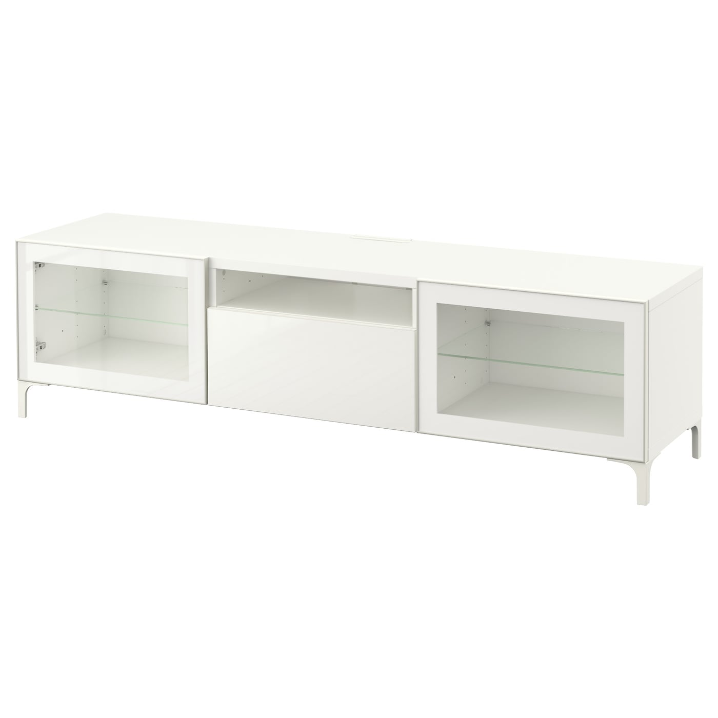 Best Banc Tv Blanc Selsviken Brillant Blanc Verre Transparent  # Meuble Tv En Verre Transparent