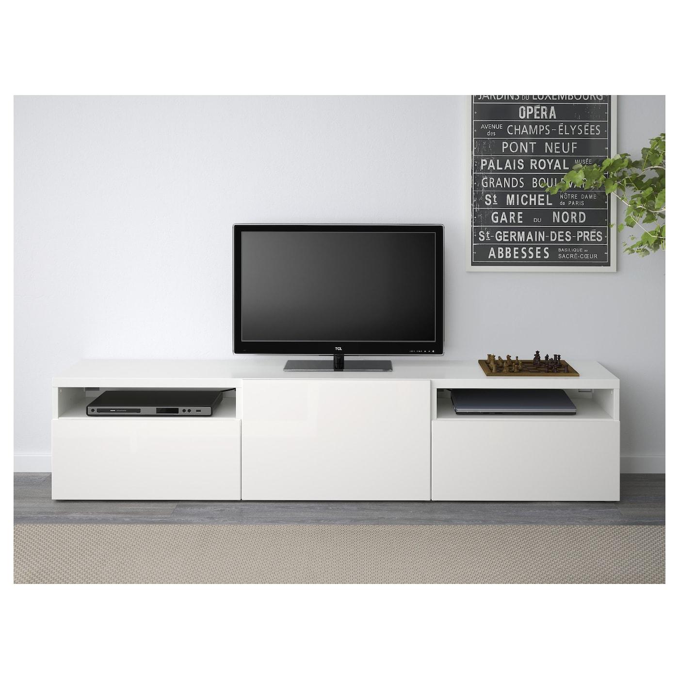 best banc tv blanc selsviken brillant blanc 180x40x38 cm. Black Bedroom Furniture Sets. Home Design Ideas