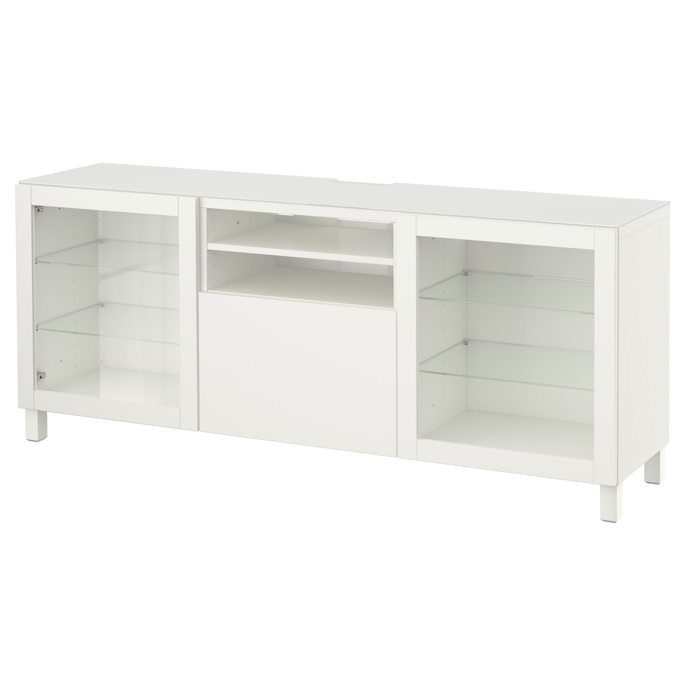 Best Banc Tv Lappviken Sindvik Blanc Verre Transparent 180x40x74  # Meuble Tv En Verre Transparent
