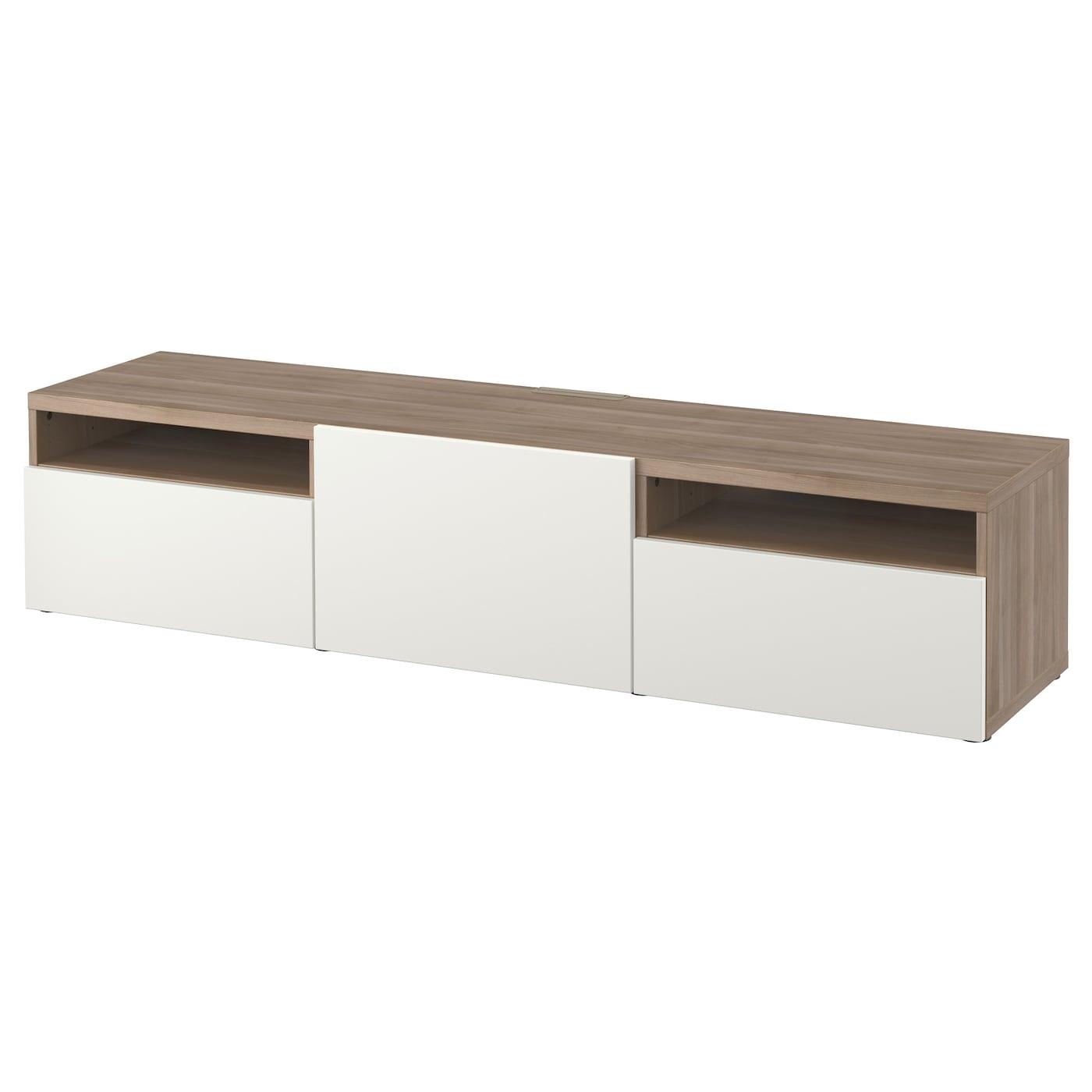 Best Banc Tv Motif Noyer Teint Gris Lappviken Blanc 180x40x38 Cm  # Banc Tv Ikea Besta Noyer Teinte Gris