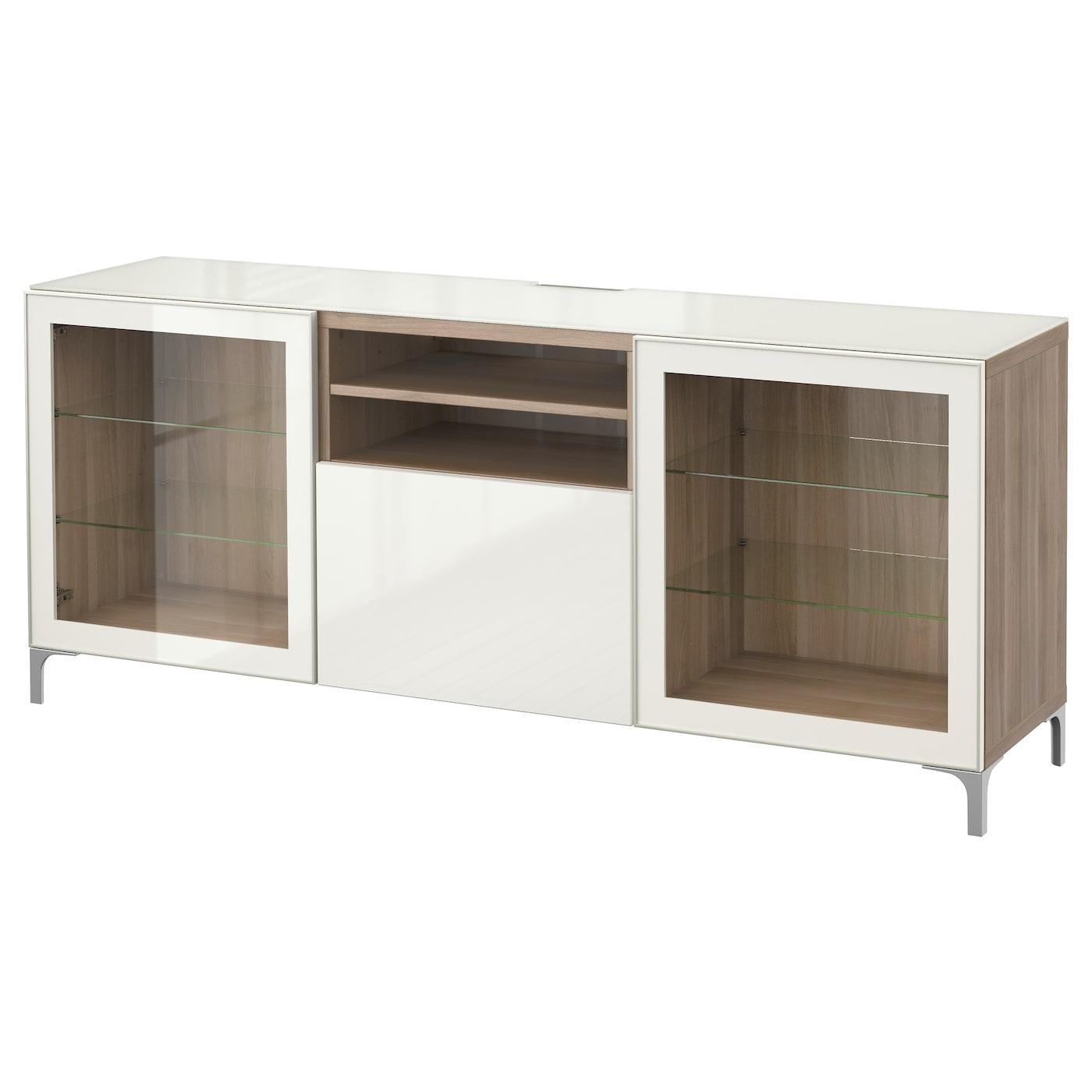 Best Banc Tv Motif Noyer Teint Gris Selsviken Brillant Blanc  # Meuble Tv Ikea Pas Cher
