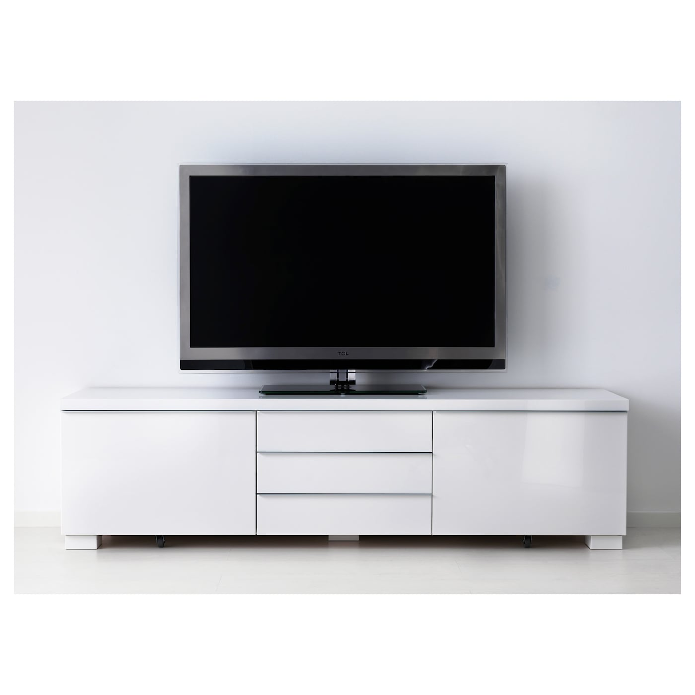 Best Burs Banc Tv Brillant Blanc 180×41 Cm Ikea # Meuble Tv Blanc Laque