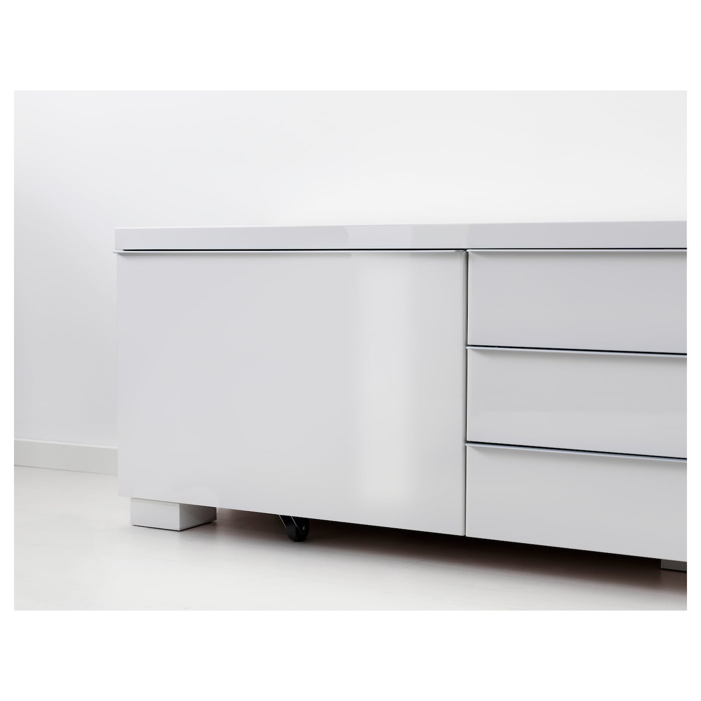 Best Burs Banc Tv Brillant Blanc 180×41 Cm Ikea # Meuble Tv Laque Rouge Besta Burs Ikea