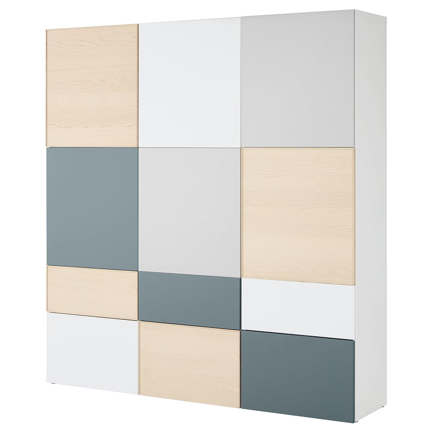 best combi rgt portes tiroirs blanc gris clair gris turquoise plaqu fr ne 180x42x192 cm ikea. Black Bedroom Furniture Sets. Home Design Ideas