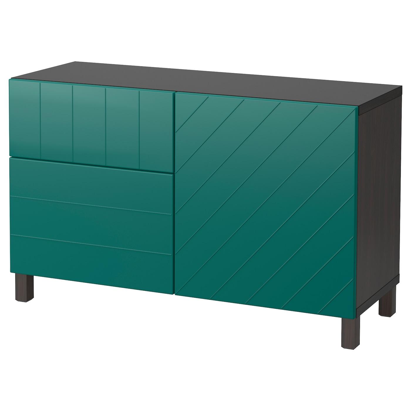 best combi rgt portes tiroirs brun noir hallstavik bleu vert 120x40x74 cm ikea. Black Bedroom Furniture Sets. Home Design Ideas