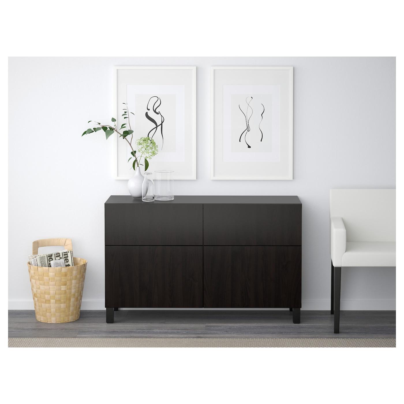 best combi rgt portes tiroirs lappviken brun noir 120x40x74 cm ikea. Black Bedroom Furniture Sets. Home Design Ideas