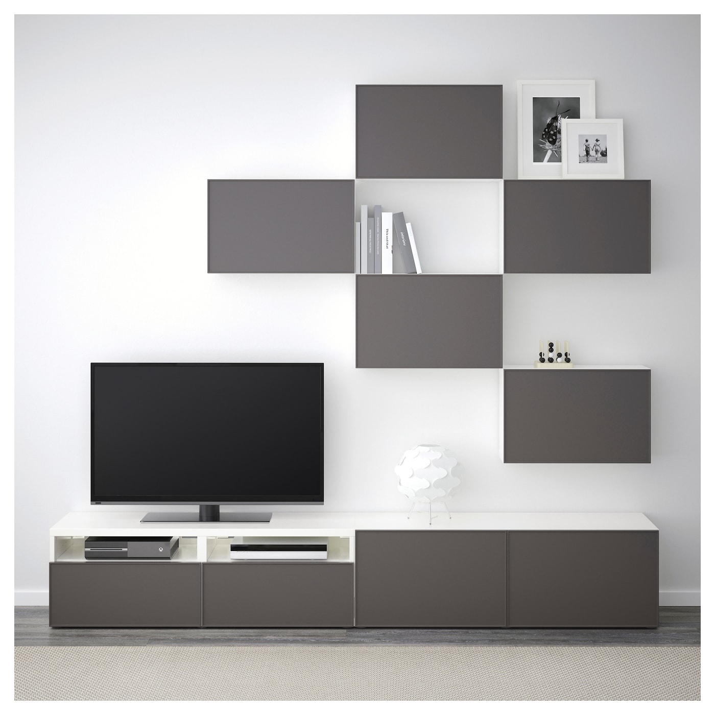 best combinaison meuble tv blanc grundsviken gris fonc 240x20 40x204 cm ikea. Black Bedroom Furniture Sets. Home Design Ideas