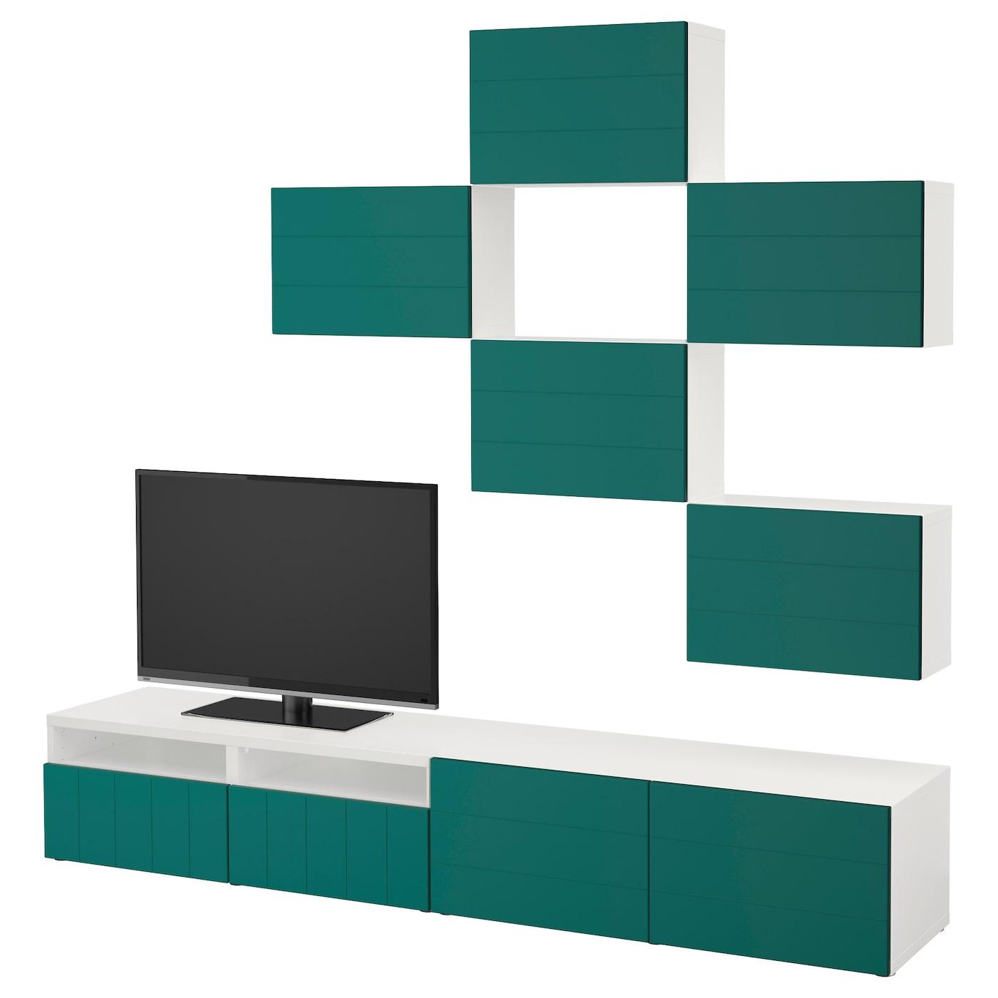 Best Combinaison Meuble Tv Blanc Hallstavik Bleu Vert 240×20  # Meuble Tv Vert