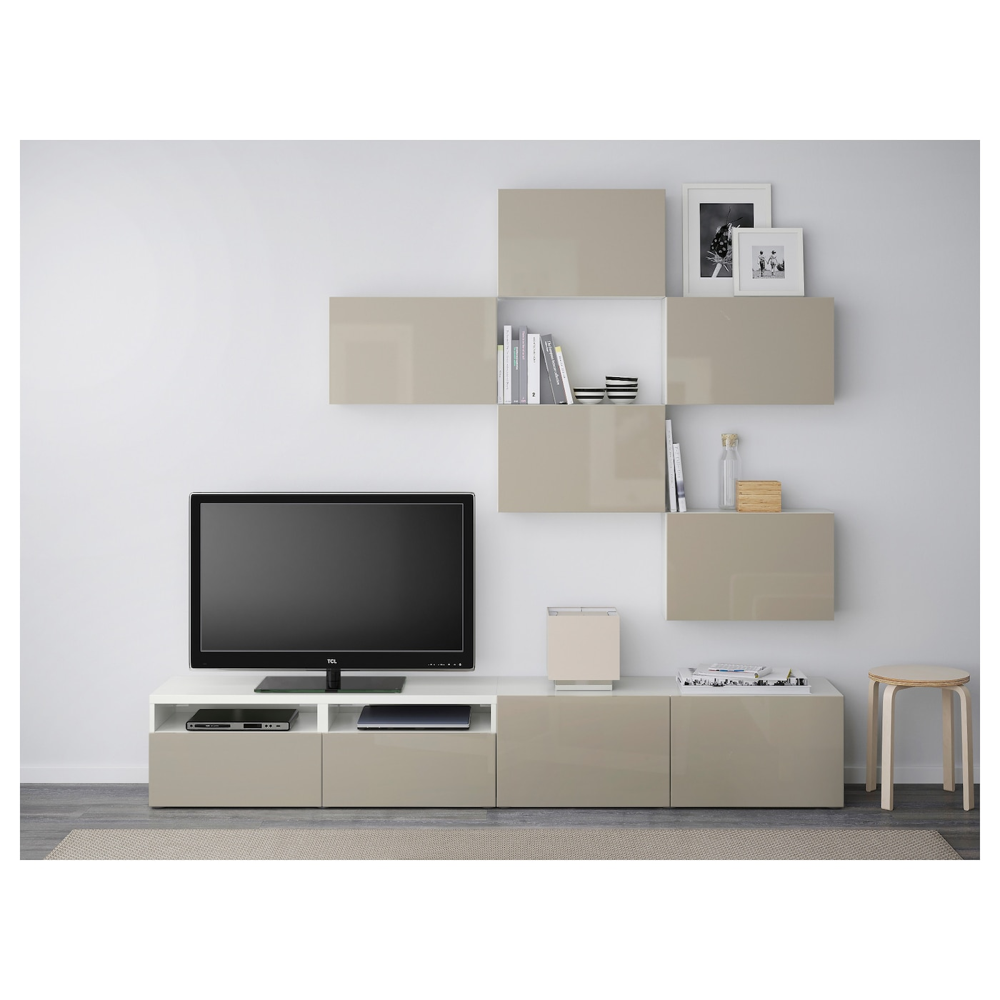 Best Combinaison Meuble Tv Blanc Selsviken Brillant Beige 240×20  # Meuble Tv Beige Blanc