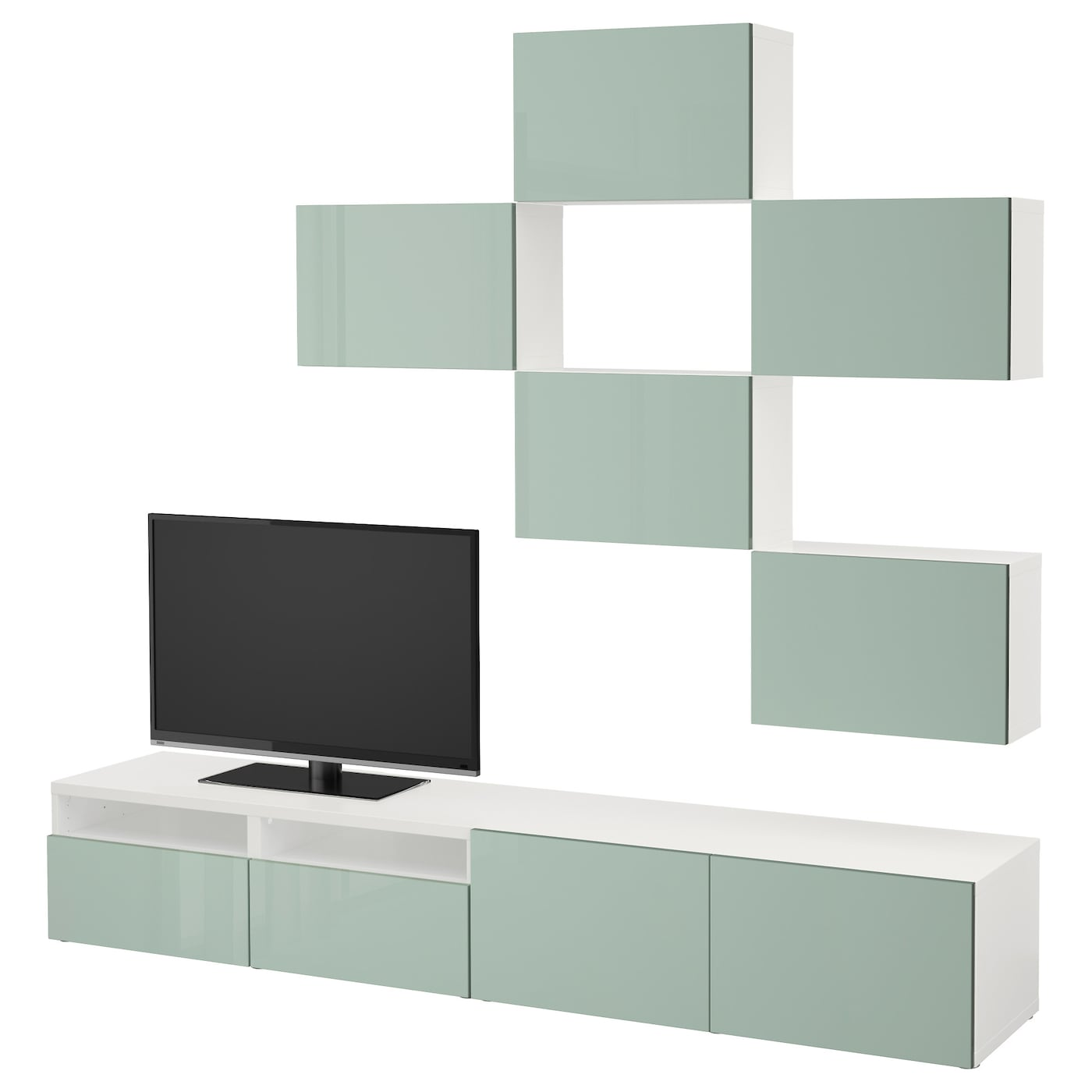 Best Combinaison Meuble Tv Blanc Selsviken Brillant Gris Vert  # Meuble Tv Brillant