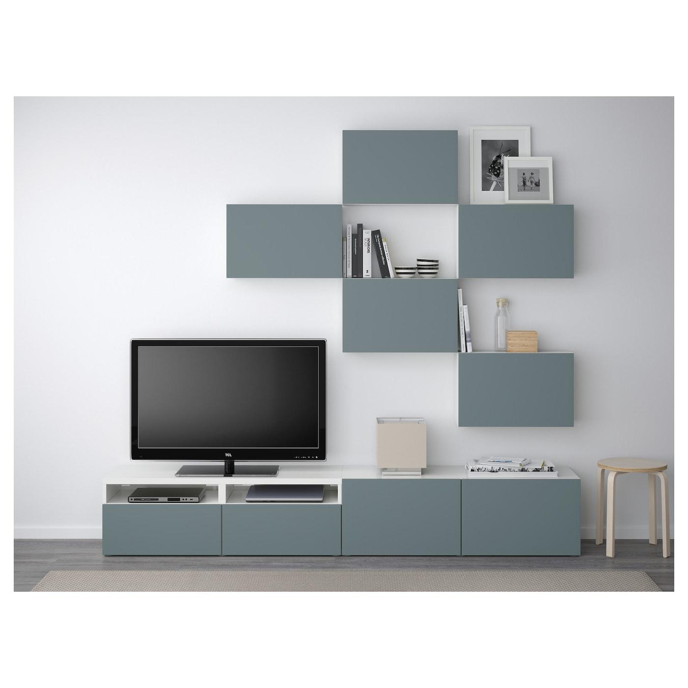 Best Combinaison Meuble Tv Blanc Valviken Gris Turquoise 240×20  # Meuble Tv Gris Et Blanc