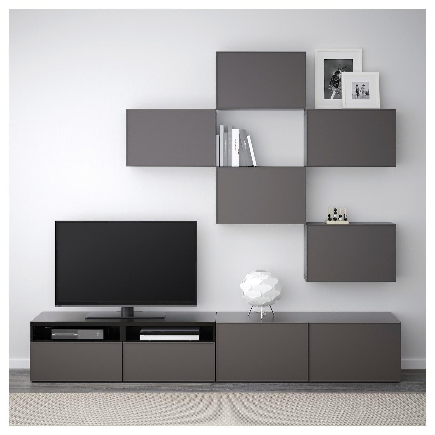 Best Combinaison Meuble Tv Brun Noir Grundsviken Gris Fonc  # Meuble Tv Brun Noir