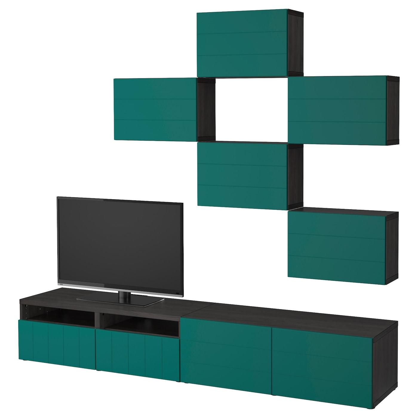 best combinaison meuble tv brun noir hallstavik bleu vert 240x20 40x204 cm ikea. Black Bedroom Furniture Sets. Home Design Ideas