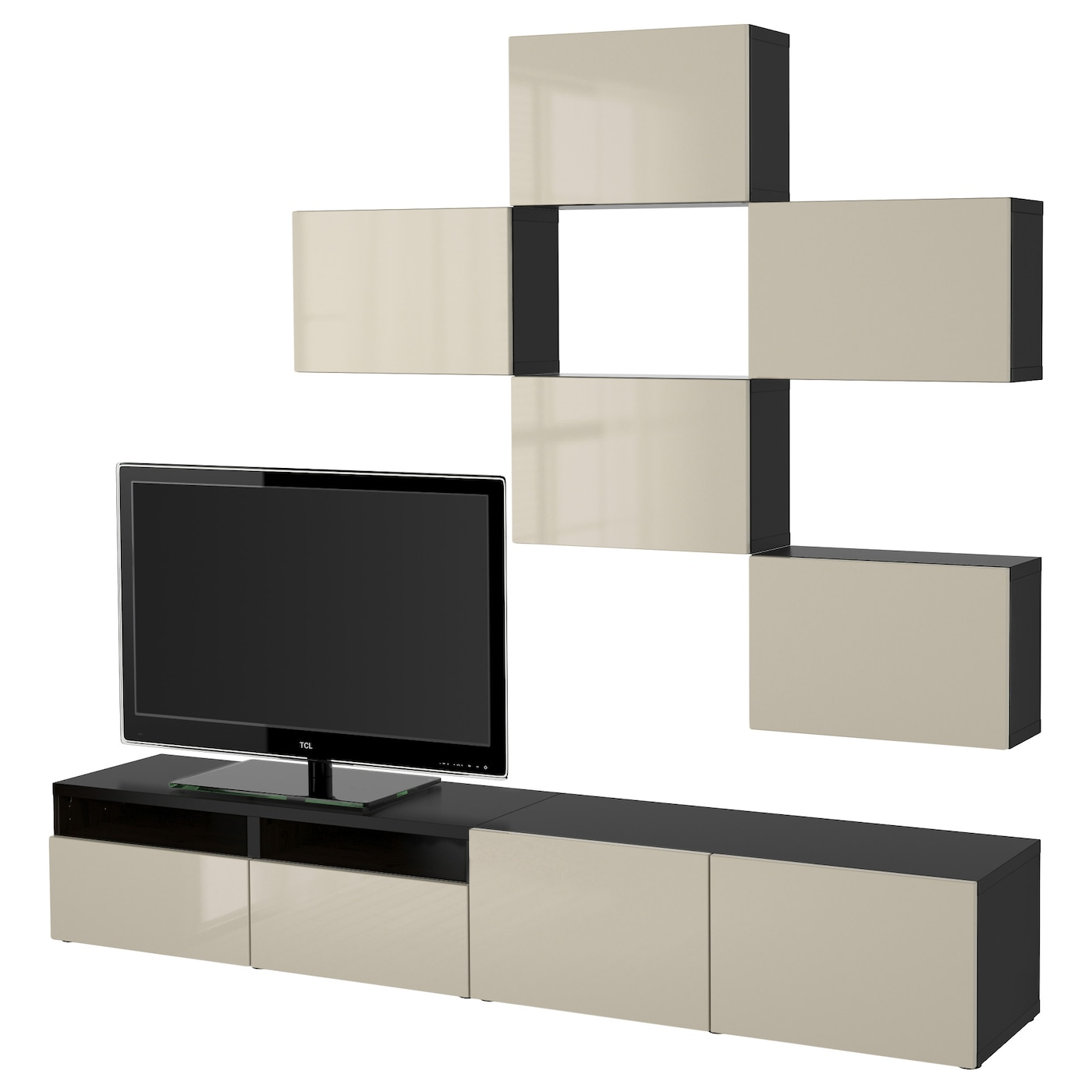 Best Combinaison Meuble Tv Brun Noir Selsviken Brillant Beige  # Meuble Tv A Accrocher Au Mur