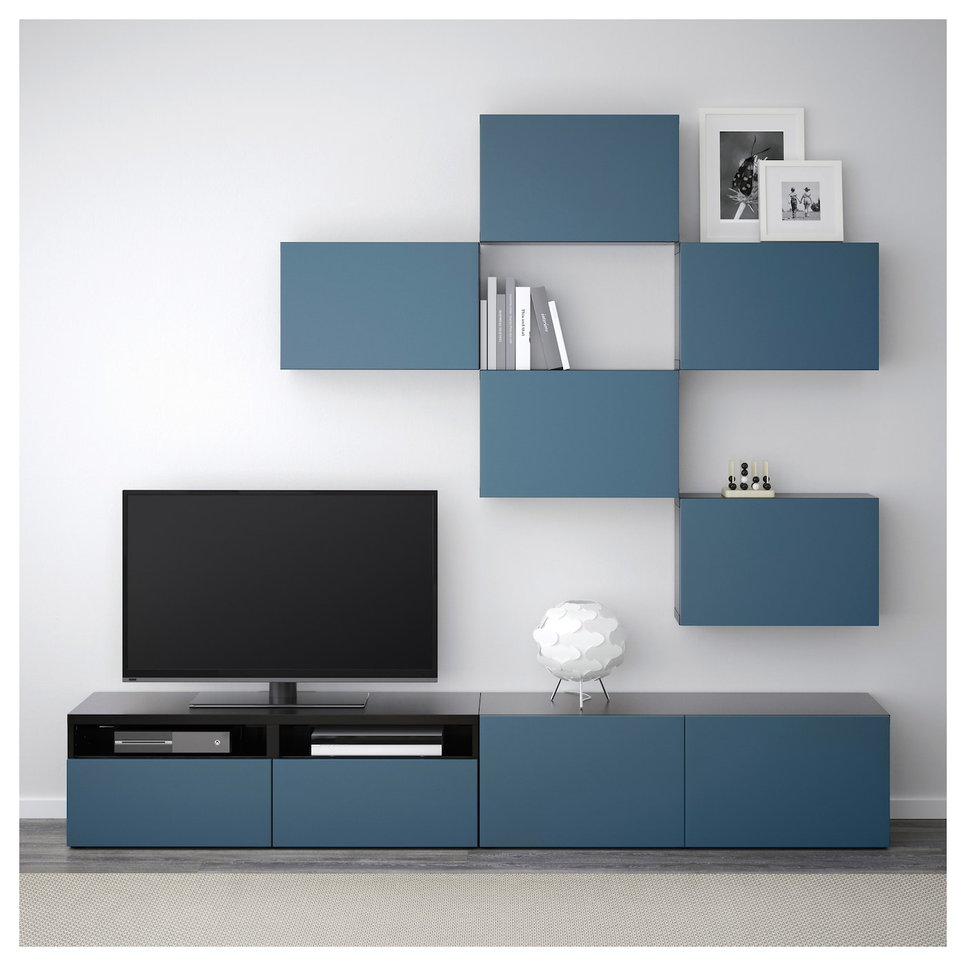 best combinaison meuble tv brun noir valviken bleu fonc 240 x 20 40 x 204 cm ikea. Black Bedroom Furniture Sets. Home Design Ideas
